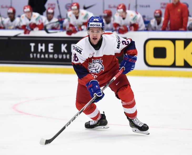 OSTRAVA, CZECH REPUBLIC - DECEMBER 26: The Czech Republic skates during preliminary round action against Russia at the 2020 IIHF World Junior Championship at Ostravar Arena on December 26, 2019 in Ostrava, Czech Republic. (Photo by Andrea Cardin/HHOF-IIHF Images)