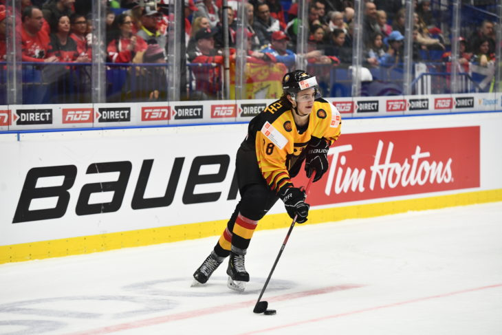 OSTRAVA, CZECH REPUBLIC - DECEMBER 30: Germany vs Canada preliminary round action of the 2020 IIHF World Junior Championship at Ostravar Arena on December 30, 2019 in Ostrava, Czech Republic. (Photo by Andrea Cardin/HHOF-IIHF Images)