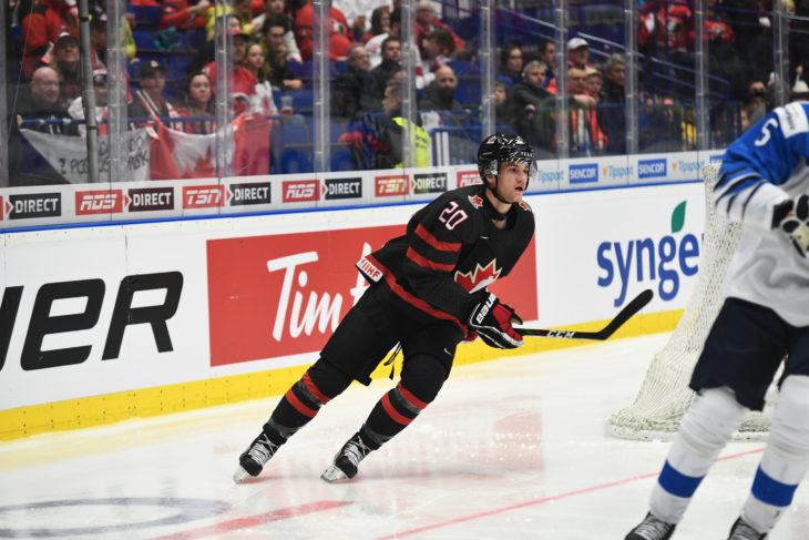 OSTRAVA, CZECH REPUBLIC - JANUARY 4: Canada vs Finland semifinal round action of the 2020 IIHF World Junior Championship at Ostravar Arena on January 4, 2020 in Ostrava, Czech Republic. (Photo by Andrea Cardin/HHOF-IIHF Images)